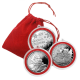 Christmas Santa Snowman Silver Rounds with exquisite velvet bag and decorative rings